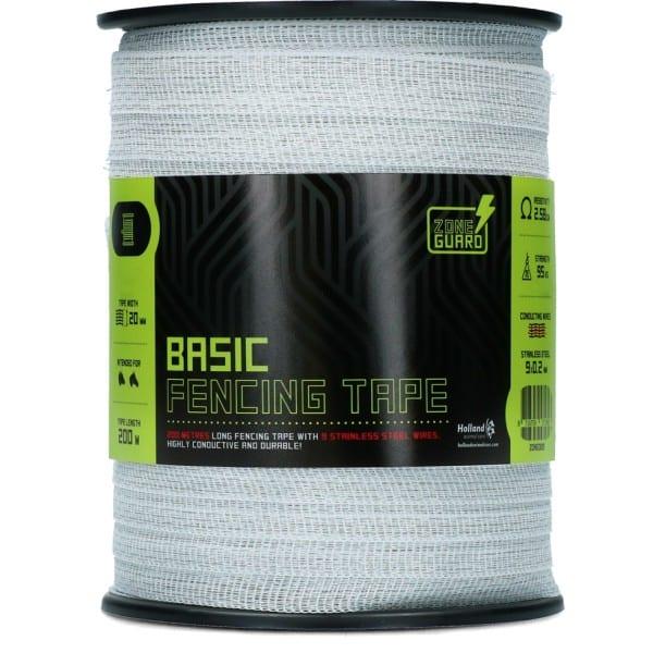 ZoneGuard 20 mm Basic afrasteringslint wit 200 m (9 draden) 1