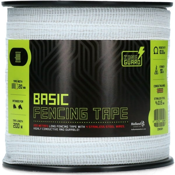 ZoneGuard 20 mm Basic afrasteringslint wit 200 m (4 draden) 1