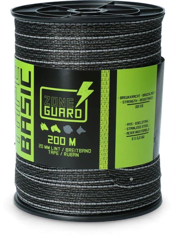 ZoneGuard 20 mm Basic afrasteringslint zwart 200 m