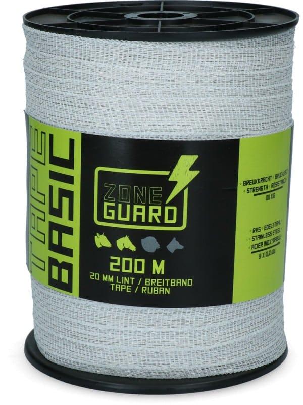 ZoneGuard 20 mm Basic afrasteringslint wit 200 m (9 draden)