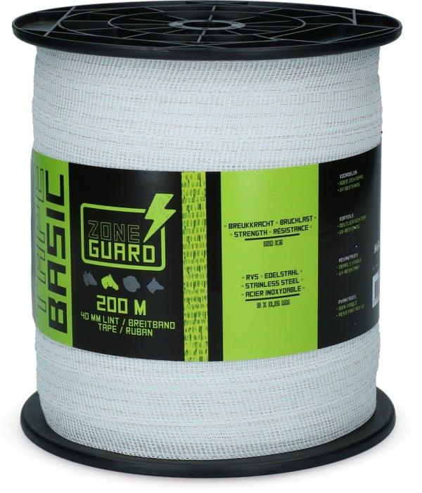 ZoneGuard 40 mm Basic afrasteringslint wit 200 m