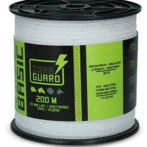 ZoneGuard 20 mm Basic afrasteringslint wit 200 m (4 draden)