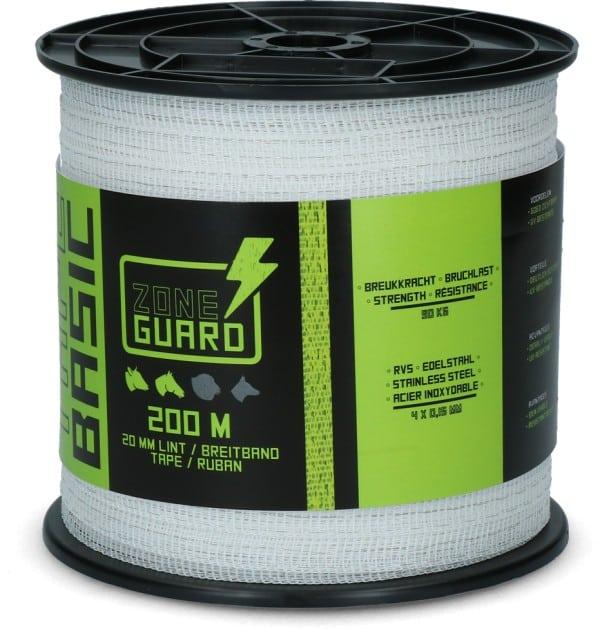 ZoneGuard 20 mm Basic afrasteringslint wit 200 m (4 draden)